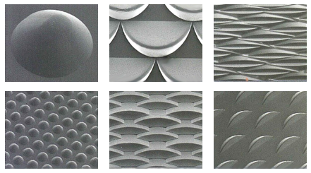 These SEM photos show some of the many patterns that can be customized to meet virtually any application.